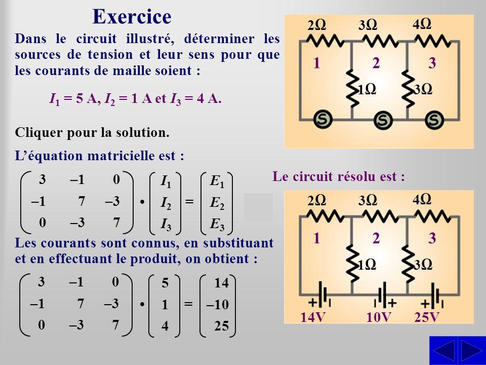 Exercice Dans le circuit illustré, déterminer les sources de tension et leur sens pour que les courants de maille soient : Léquation matricielle est :