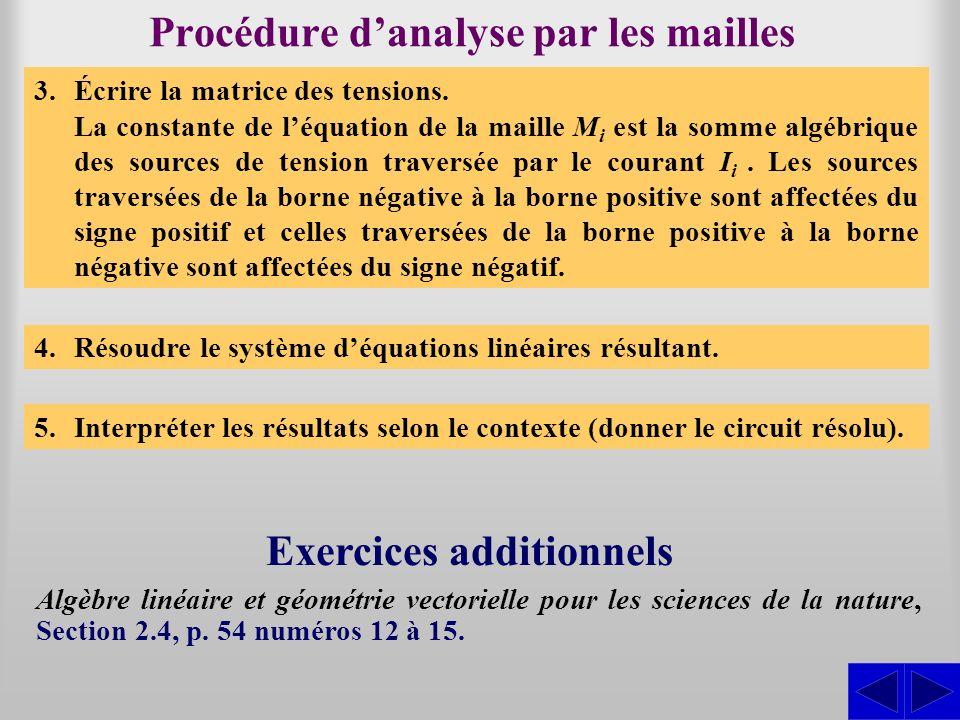Procédure danalyse par les mailles 3.Écrire la matrice des tensions. La constante de léquation de la maille M i est la somme algébrique des sources de