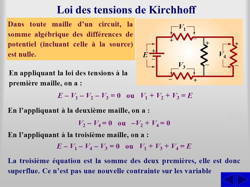 Loi des tensions de Kirchhoff Dans toute maille dun circuit, la somme algébrique des différences de potentiel (incluant celle à la source) est nulle.