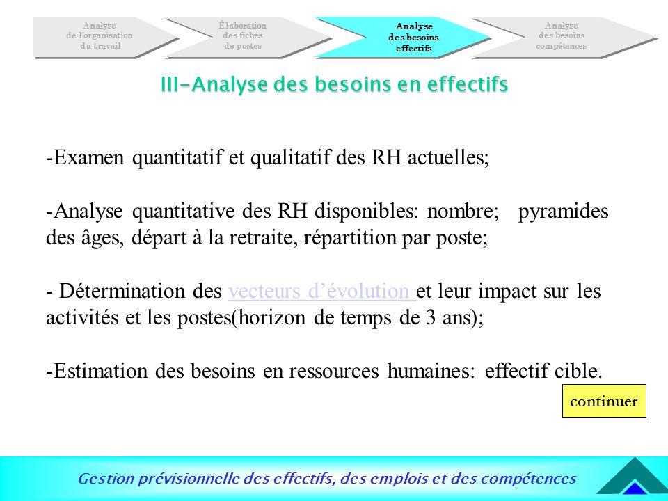 Gestion prévisionnelle des effectifs, des emplois et des compétences III-Analyse des besoins en effectifs -Examen quantitatif et qualitatif des RH act