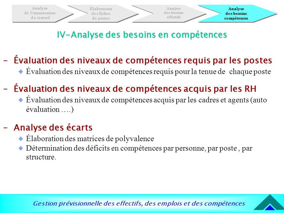 Gestion prévisionnelle des effectifs, des emplois et des compétences IV-Analyse des besoins en compétences -Évaluation des niveaux de compétences requ
