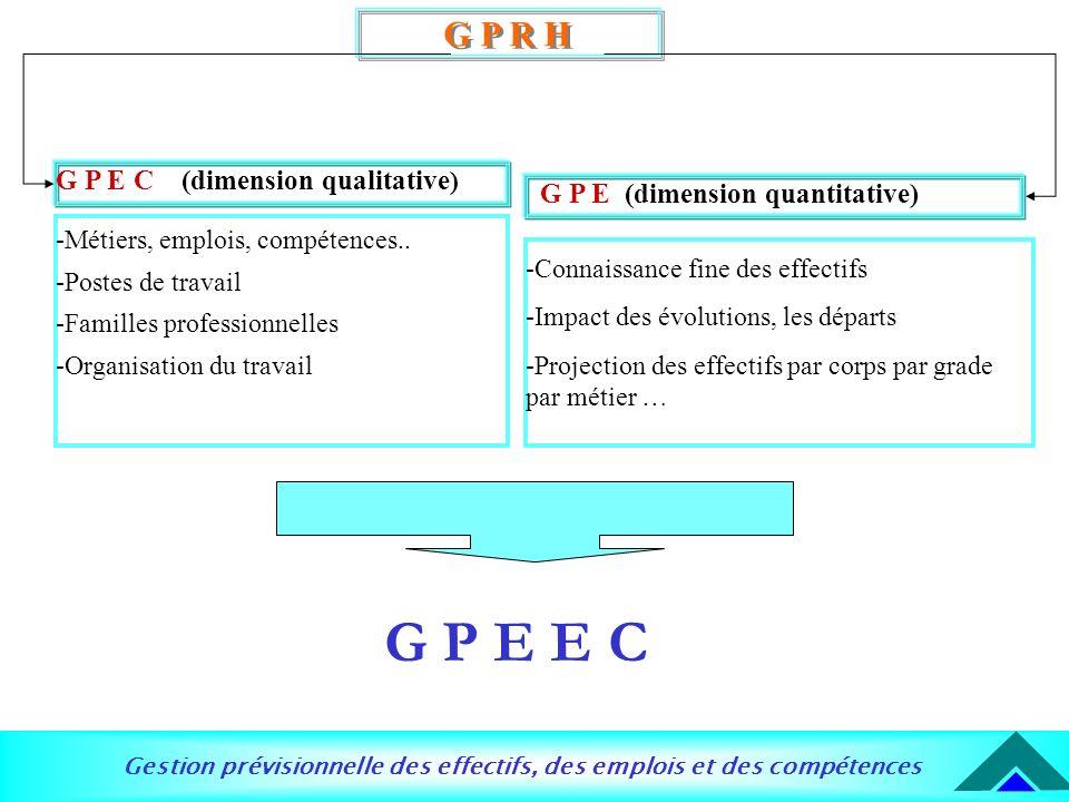 Gestion prévisionnelle des effectifs, des emplois et des compétences G P R H G P E C (dimension qualitative ) -Métiers, emplois, compétences.. -Postes