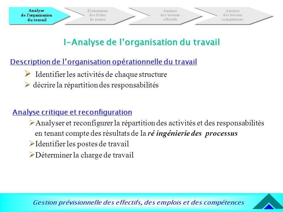 Gestion prévisionnelle des effectifs, des emplois et des compétences Description de lorganisation opérationnelle du travail Identifier les activités d