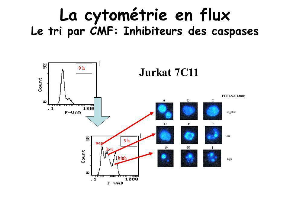 0 h 3 h neg low high Jurkat 7C11 La cytométrie en flux Le tri par CMF: Inhibiteurs des caspases