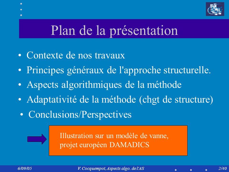 6/09/05V. Cocquempot, Aspects algo. de l AS pour la surveillance 13/40 Application vanne