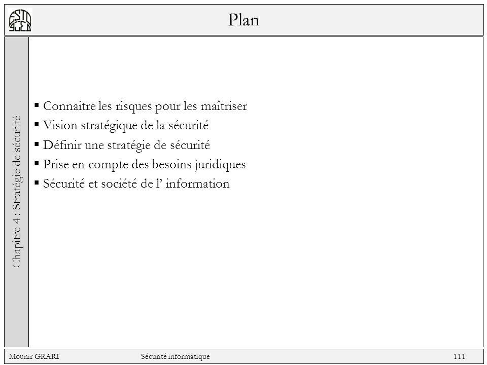 Plan Connaitre les risques pour les maîtriser Vision stratégique de la sécurité Définir une stratégie de sécurité Prise en compte des besoins juridiques Sécurité et société de l information Chapitre 4 : Stratégie de sécurité Mounir GRARI Sécurité informatique 111