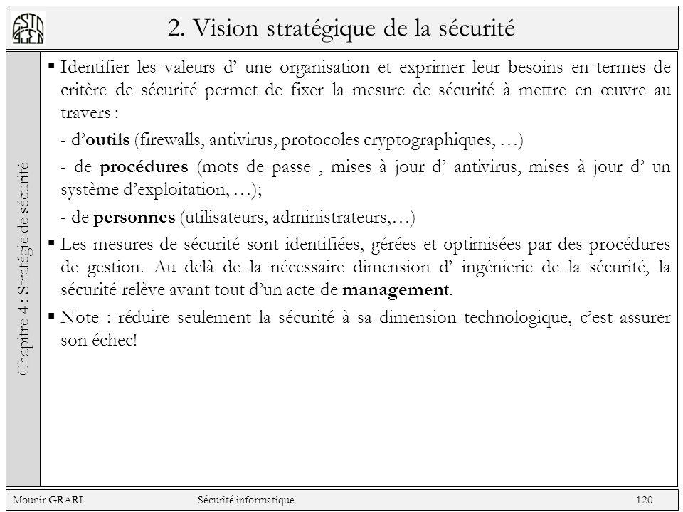 2. Vision stratégique de la sécurité Identifier les valeurs d une organisation et exprimer leur besoins en termes de critère de sécurité permet de fix