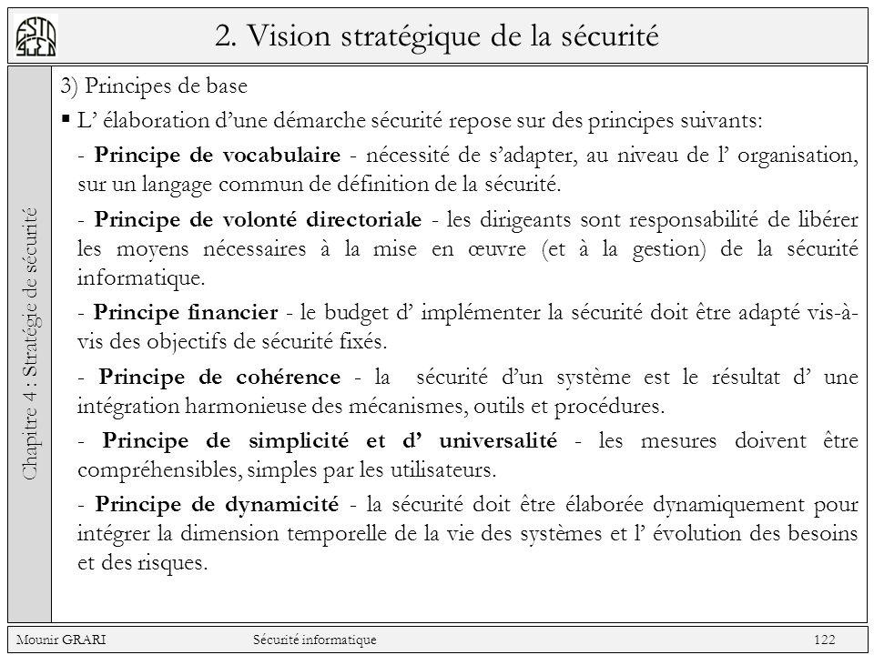 2. Vision stratégique de la sécurité 3) Principes de base L élaboration dune démarche sécurité repose sur des principes suivants: - Principe de vocabu