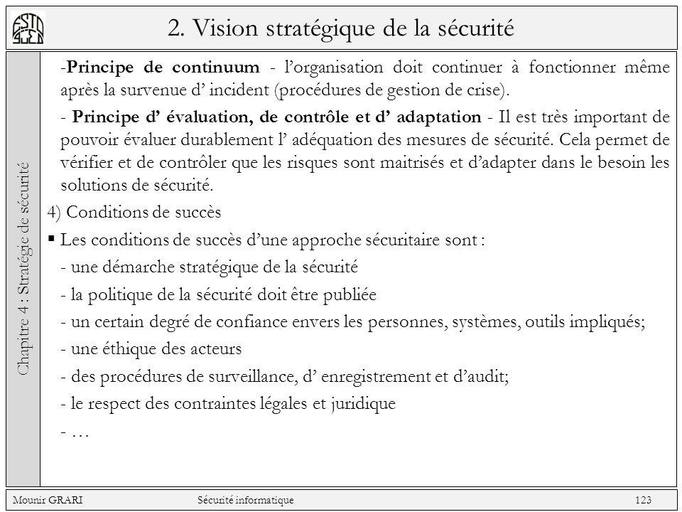 2. Vision stratégique de la sécurité -Principe de continuum - lorganisation doit continuer à fonctionner même après la survenue d incident (procédures