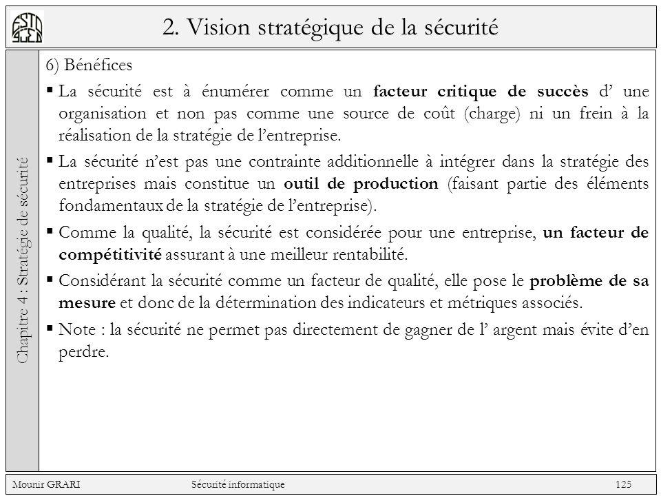 2. Vision stratégique de la sécurité 6) Bénéfices La sécurité est à énumérer comme un facteur critique de succès d une organisation et non pas comme u
