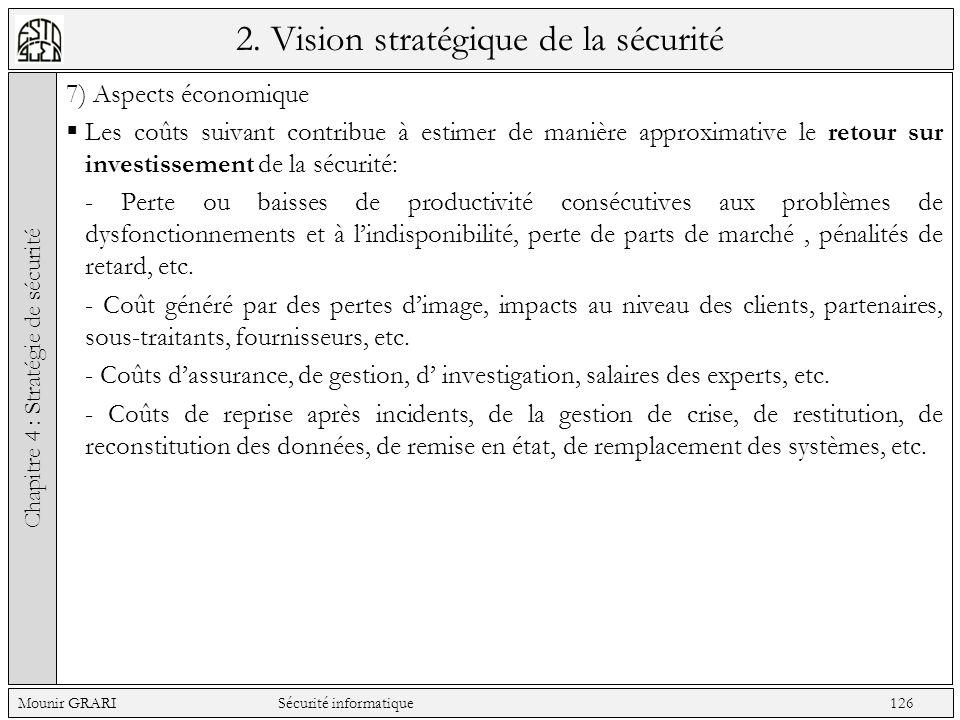 2. Vision stratégique de la sécurité 7) Aspects économique Les coûts suivant contribue à estimer de manière approximative le retour sur investissement