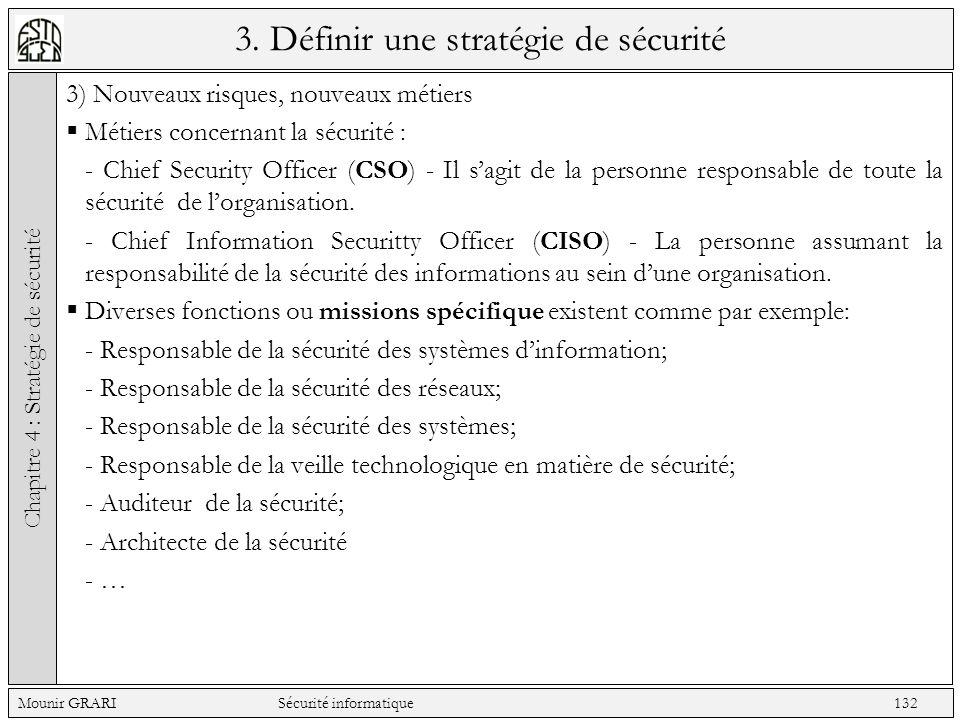 3. Définir une stratégie de sécurité 3) Nouveaux risques, nouveaux métiers Métiers concernant la sécurité : - Chief Security Officer (CSO) - Il sagit
