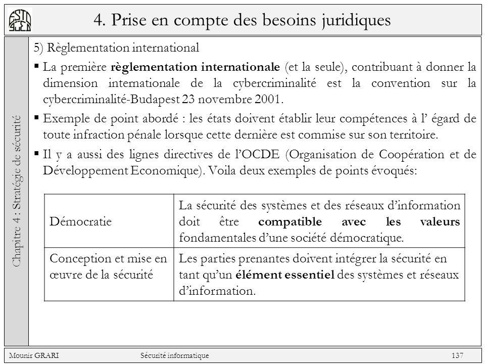 4. Prise en compte des besoins juridiques 5) Règlementation international La première règlementation internationale (et la seule), contribuant à donne
