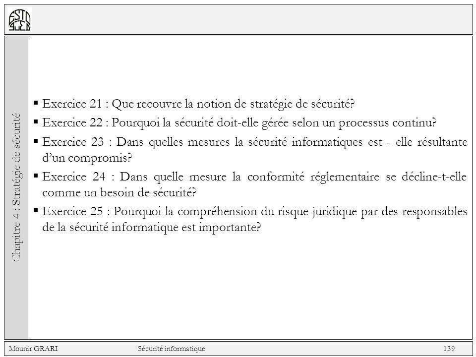 Exercice 21 : Que recouvre la notion de stratégie de sécurité.