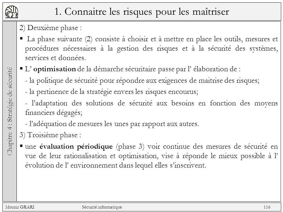 1. Connaitre les risques pour les maîtriser 2) Deuxième phase : La phase suivante (2) consiste à choisir et à mettre en place les outils, mesures et p