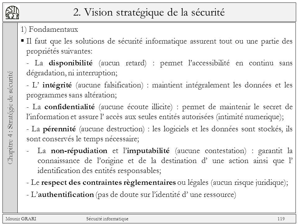 2. Vision stratégique de la sécurité 1) Fondamentaux Il faut que les solutions de sécurité informatique assurent tout ou une partie des propriétés sui