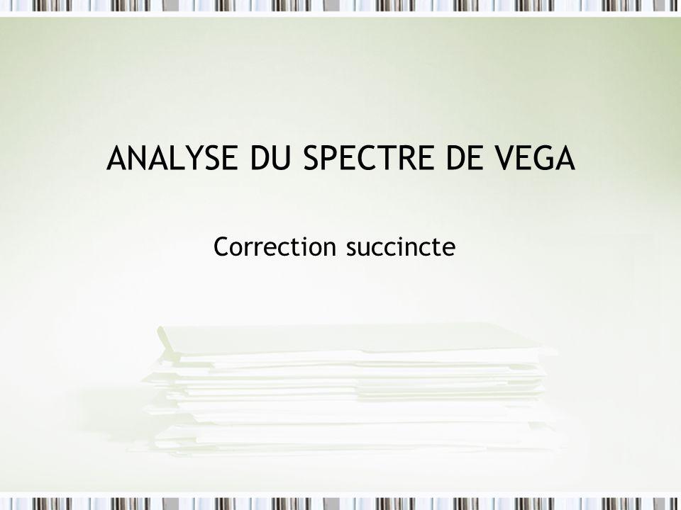 ANALYSE DU SPECTRE DE VEGA Correction succincte