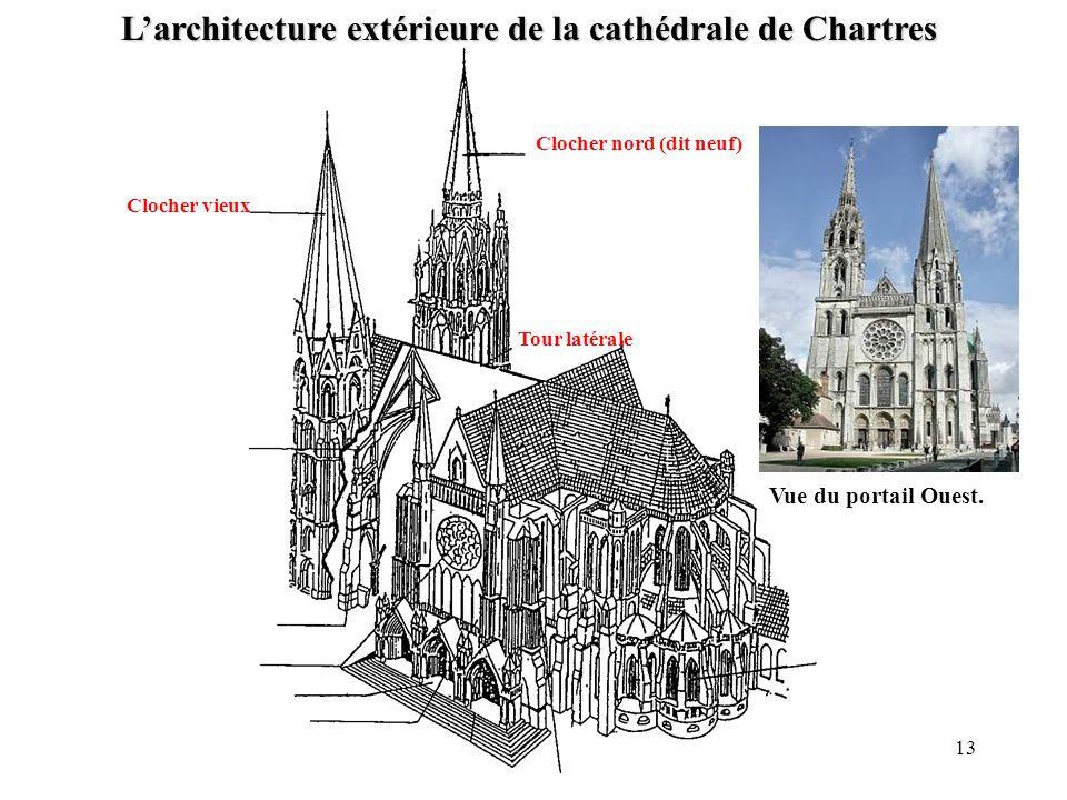 Clocher vieux Clocher nord (dit neuf) Tour latérale Larchitecture extérieure de la cathédrale de Chartres 13 Vue du portail Ouest.
