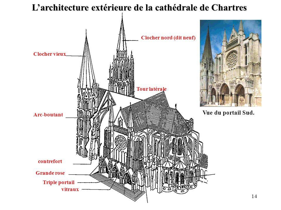 Clocher vieux Clocher nord (dit neuf) Arc-boutant contrefort Tour latérale Grande rose Triple portail Larchitecture extérieure de la cathédrale de Cha