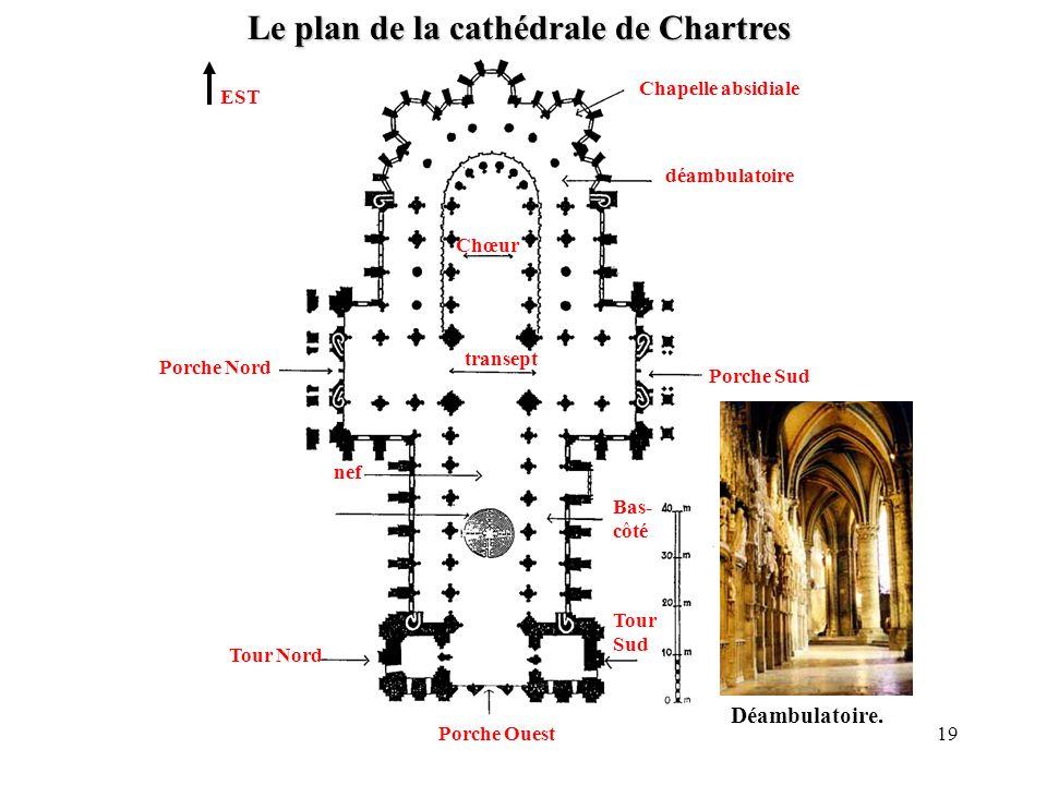 Le plan de la cathédrale de Chartres EST Tour Nord Tour Sud Porche Nord Porche Sud déambulatoire Chapelle absidiale nef transept Chœur Porche Ouest Ba