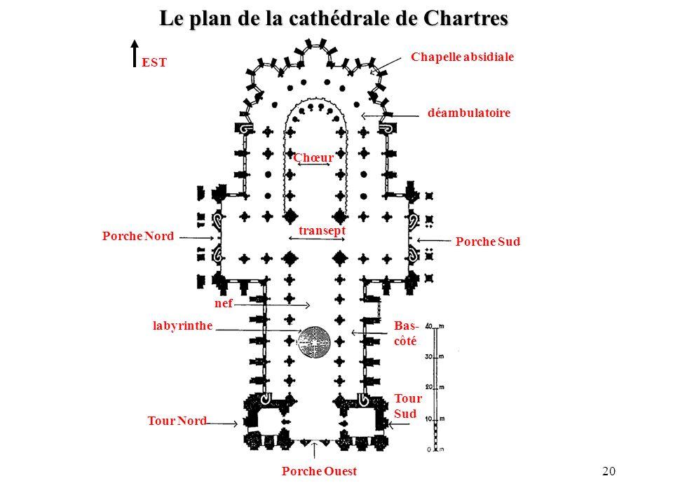 Le plan de la cathédrale de Chartres EST Tour Nord Tour Sud labyrinthe Porche Nord Porche Sud déambulatoire Chapelle absidiale nef transept Chœur Porc