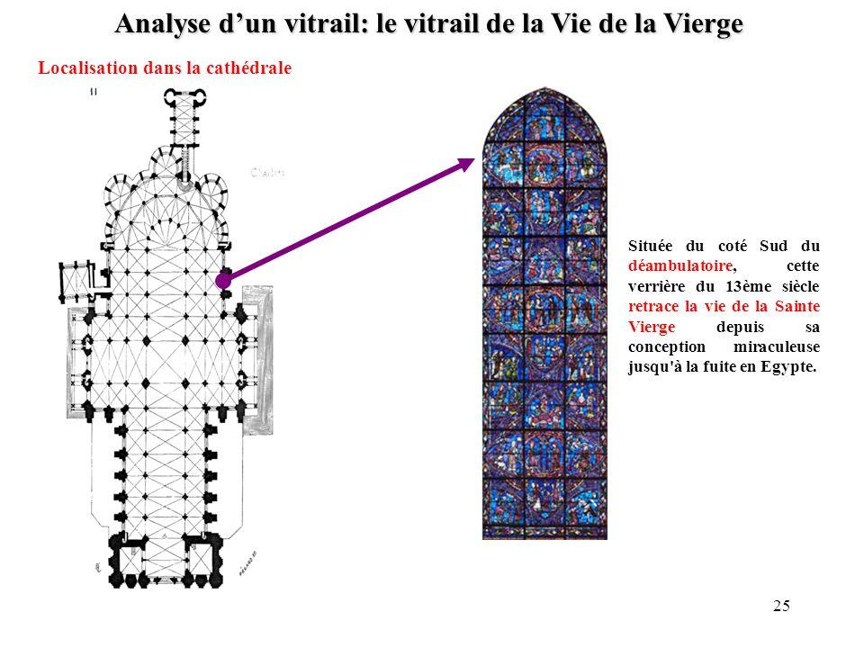 Analyse dun vitrail: le vitrail de la Vie de la Vierge Localisation dans la cathédrale Située du coté Sud du déambulatoire, cette verrière du 13ème si