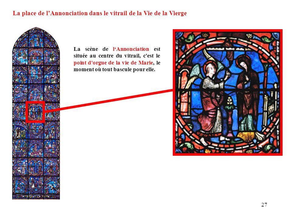 La scène de lAnnonciation est située au centre du vitrail, c'est le point d'orgue de la vie de Marie, le moment où tout bascule pour elle. La place de