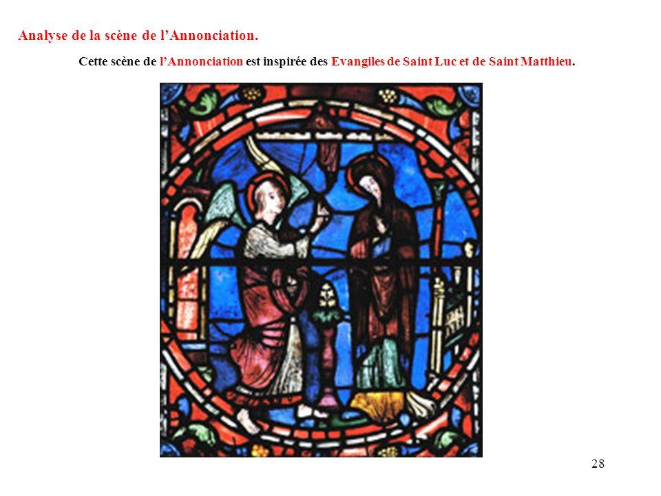 Analyse de la scène de lAnnonciation. Cette scène de lAnnonciation est inspirée des Evangiles de Saint Luc et de Saint Matthieu. 28
