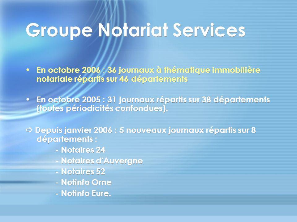 Groupe Notariat Services En octobre 2006 : 36 journaux à thématique immobilière notariale répartis sur 46 départements En octobre 2005 : 31 journaux r