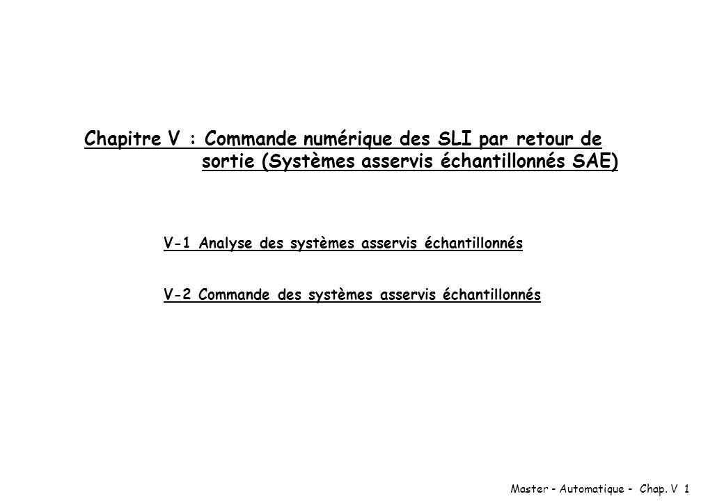 Master - Automatique - Chap. V 1 Chapitre V : Commande numérique des SLI par retour de sortie (Systèmes asservis échantillonnés SAE) V-1 Analyse des s
