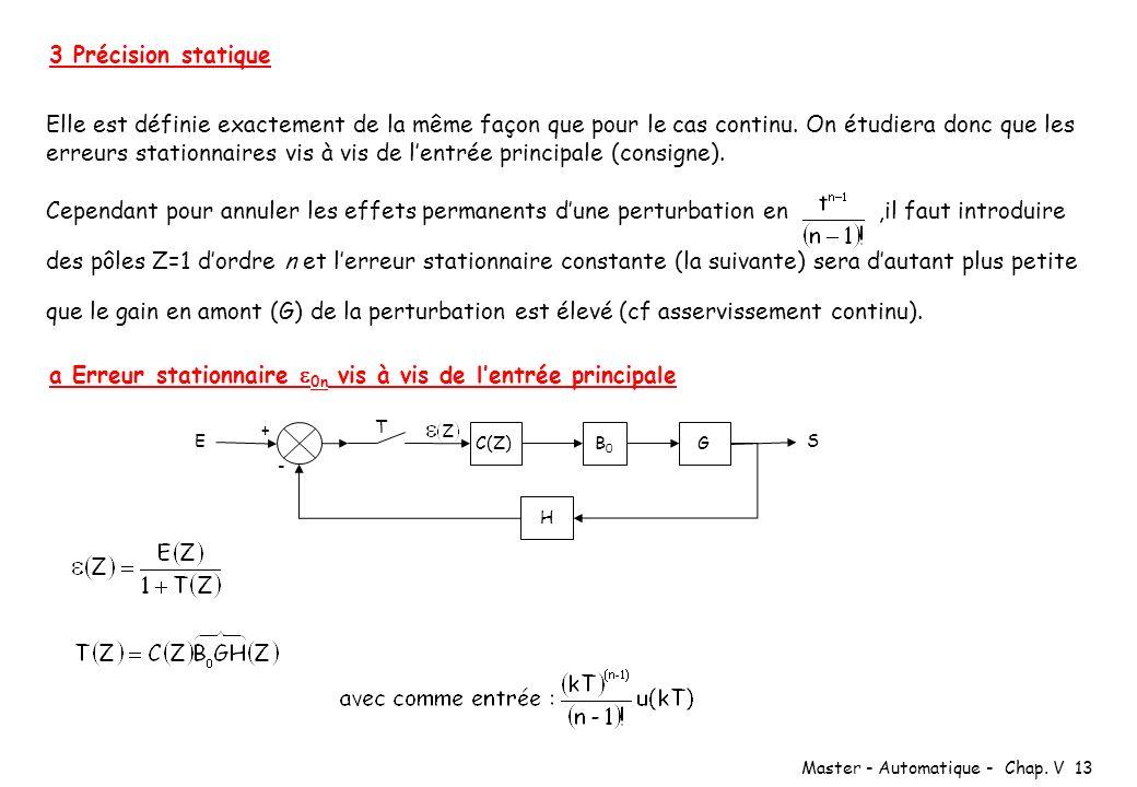 Master - Automatique - Chap. V 13 3 Précision statique Elle est définie exactement de la même façon que pour le cas continu. On étudiera donc que les