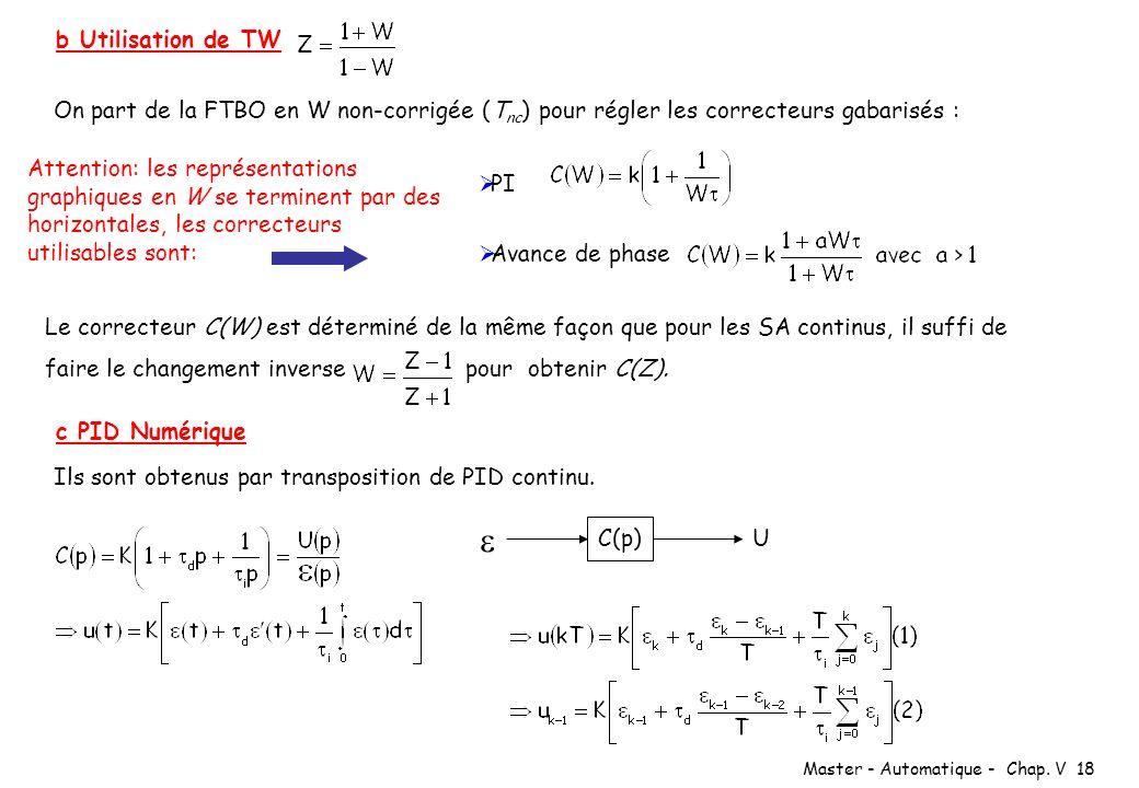 Master - Automatique - Chap. V 18 b Utilisation de TW On part de la FTBO en W non-corrigée (T nc ) pour régler les correcteurs gabarisés : PI Avance d