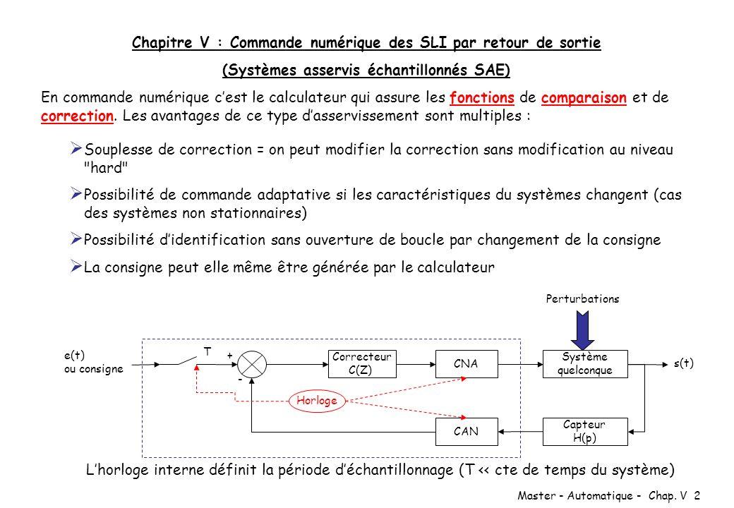 Master - Automatique - Chap. V 2 Souplesse de correction = on peut modifier la correction sans modification au niveau