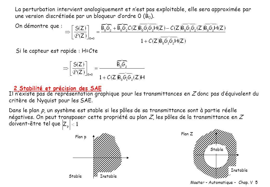 Master - Automatique - Chap. V 5 La perturbation intervient analogiquement et nest pas exploitable, elle sera approximée par une version discrétisée p