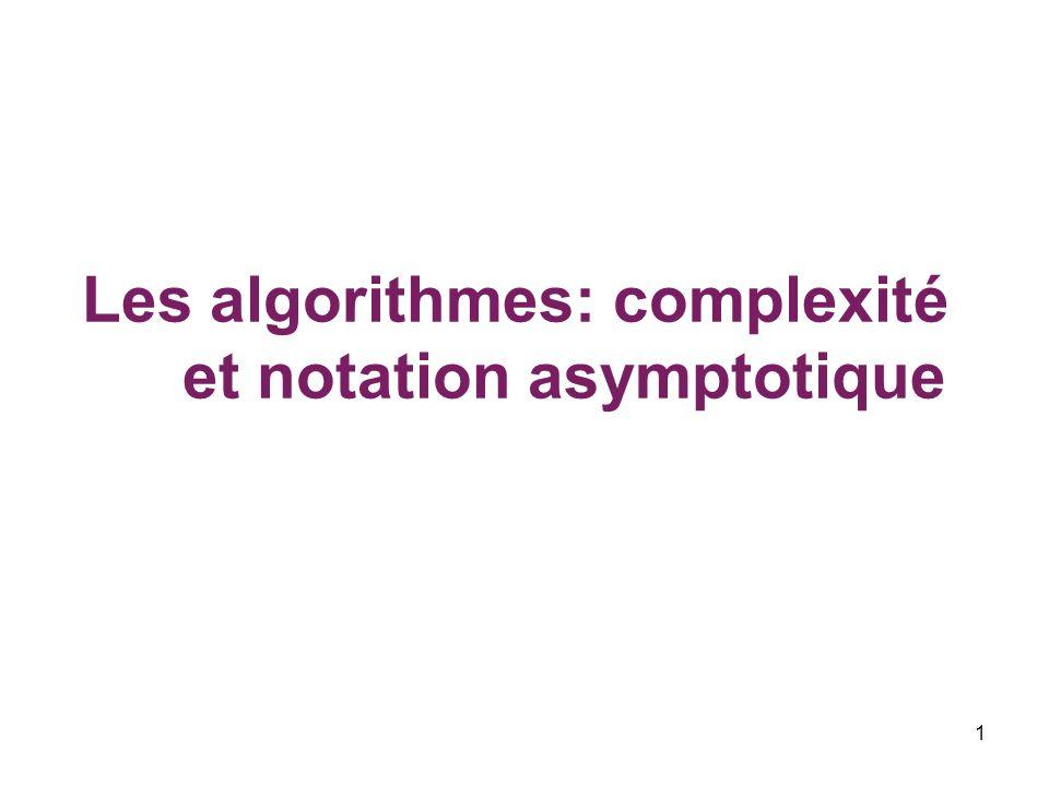 1 Les algorithmes: complexité et notation asymptotique