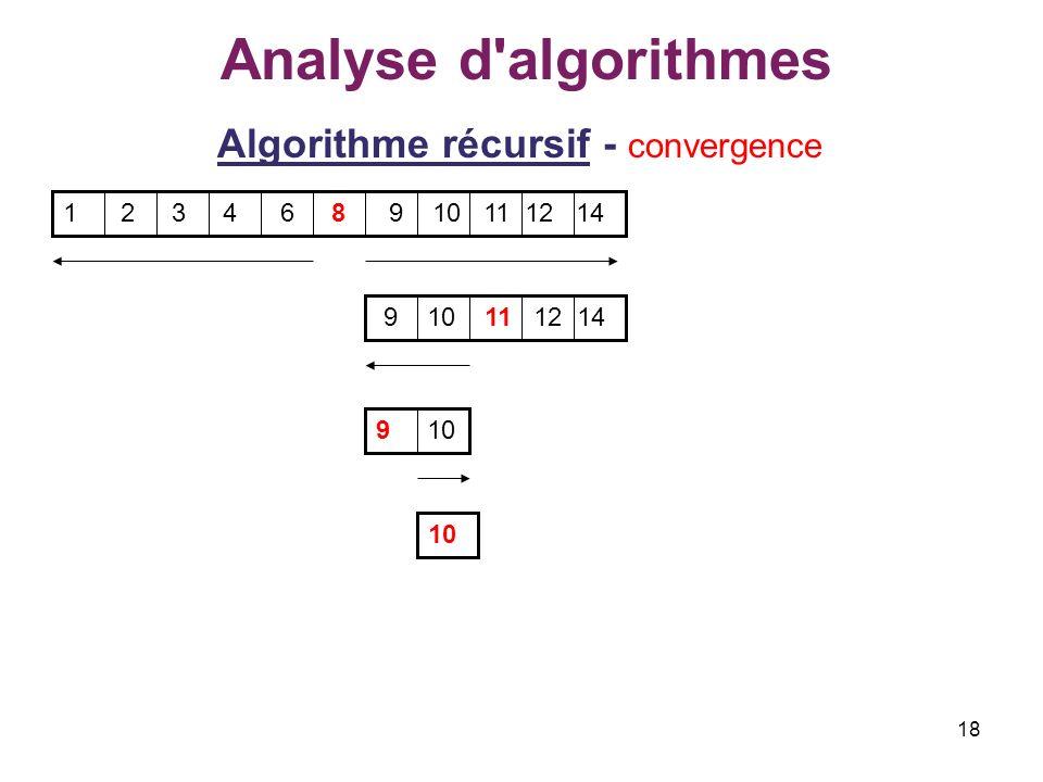 18 Analyse d'algorithmes Algorithme récursif - convergence 1 2 3 4 6 8 9 10 11 12 14 9 10 11 12 14 9 10 10