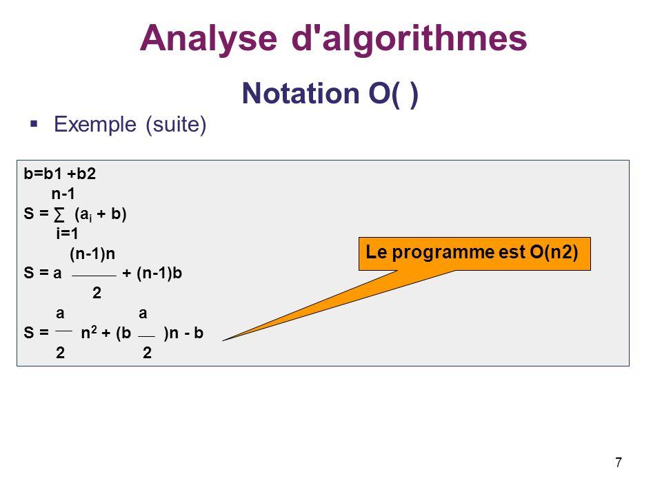 7 Analyse d'algorithmes Notation O( ) Exemple (suite) b=b1 +b2 n-1 S = (a i + b) i=1 (n-1)n S = a + (n-1)b 2 a a S = n 2 + (b )n - b 2 2 Le programme