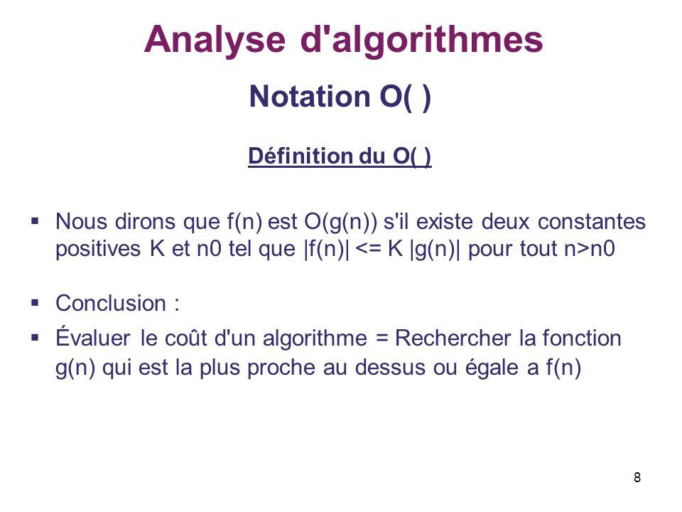 8 Analyse d'algorithmes Notation O( ) Définition du O( ) Nous dirons que f(n) est O(g(n)) s'il existe deux constantes positives K et n0 tel que |f(n)|