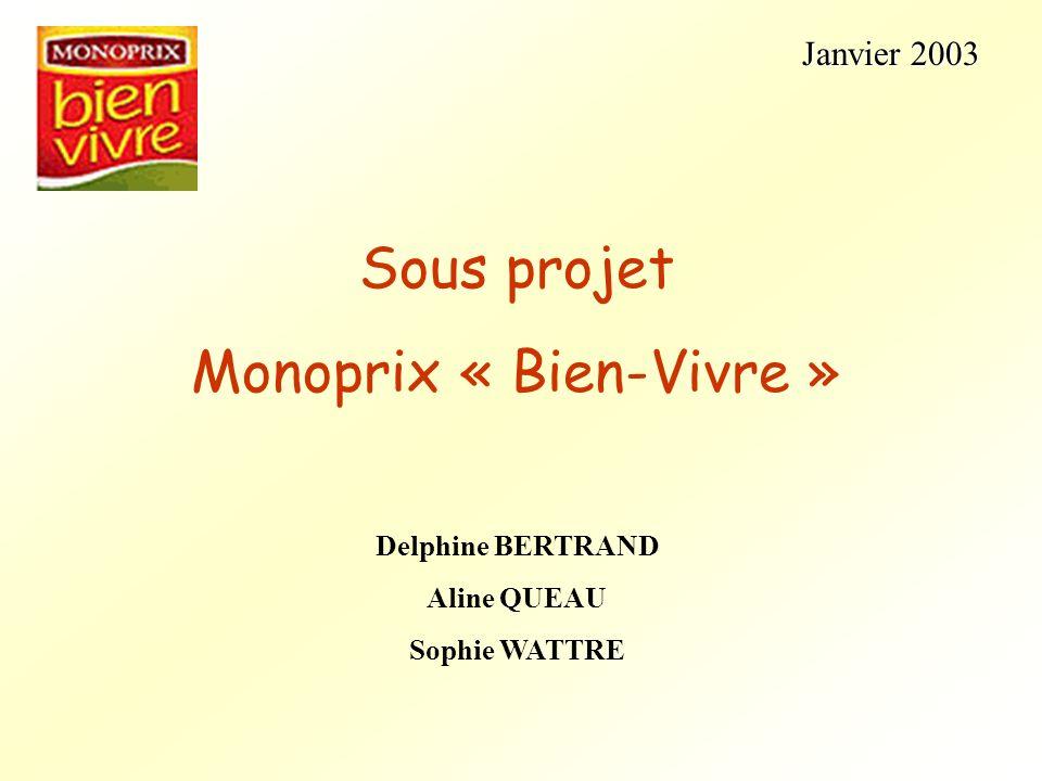 Janvier 2003 Janvier 2003 Sous projet Monoprix « Bien-Vivre » Delphine BERTRAND Aline QUEAU Sophie WATTRE