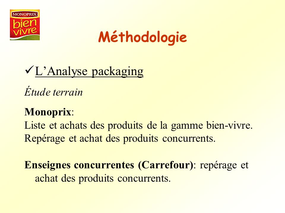 Méthodologie LAnalyse packaging Étude terrain Monoprix: Liste et achats des produits de la gamme bien-vivre. Repérage et achat des produits concurrent