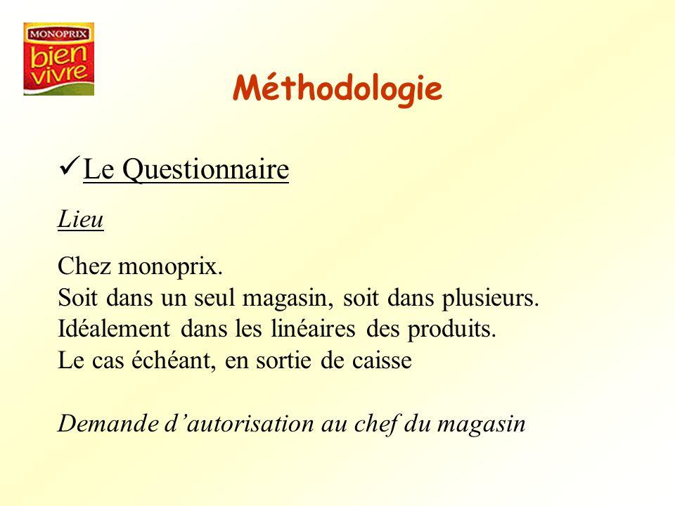 Méthodologie Le Questionnaire Lieu Chez monoprix. Soit dans un seul magasin, soit dans plusieurs. Idéalement dans les linéaires des produits. Le cas é