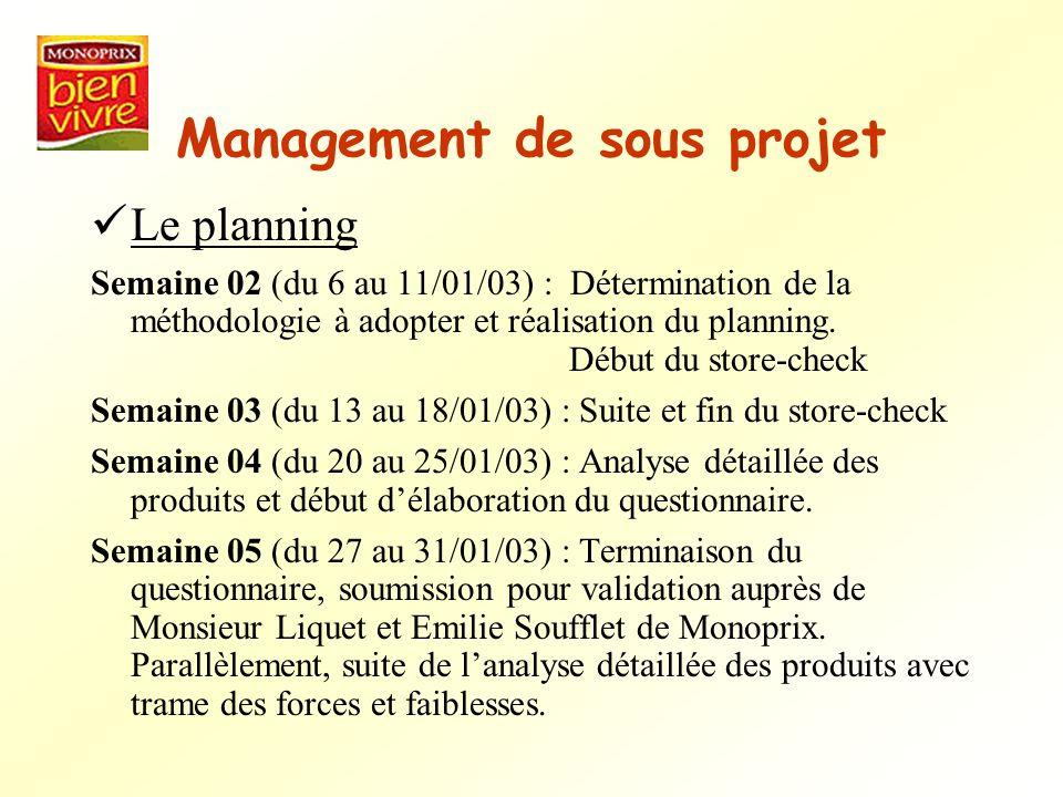 Management de sous projet Le planning Semaine 02 (du 6 au 11/01/03) : Détermination de la méthodologie à adopter et réalisation du planning. Début du