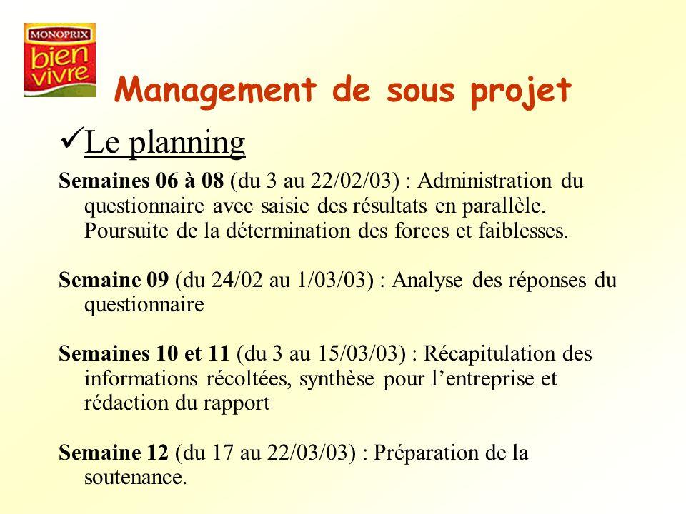 Management de sous projet Le planning Semaines 06 à 08 (du 3 au 22/02/03) : Administration du questionnaire avec saisie des résultats en parallèle. Po