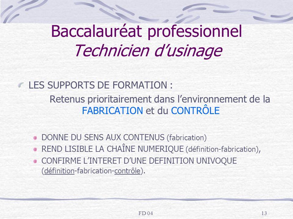 FD 0413 Baccalauréat professionnel Technicien dusinage LES SUPPORTS DE FORMATION : Retenus prioritairement dans lenvironnement de la FABRICATION et du