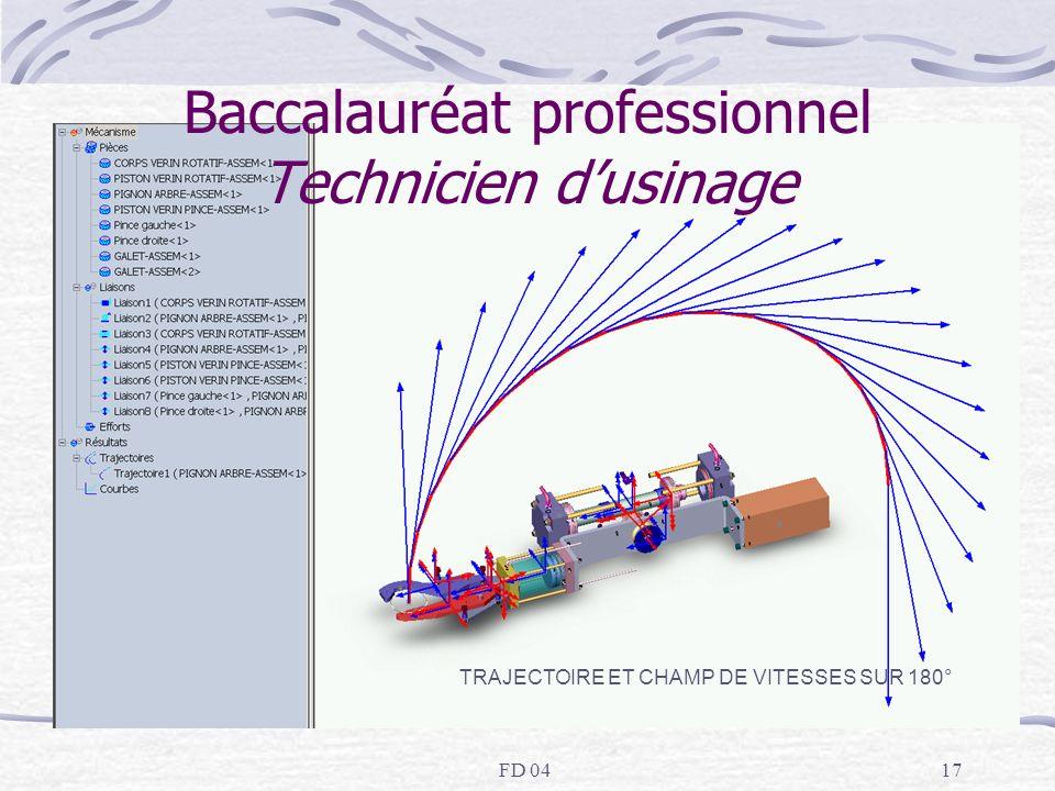 FD 0417 Baccalauréat professionnel Technicien dusinage TRAJECTOIRE ET CHAMP DE VITESSES SUR 180°