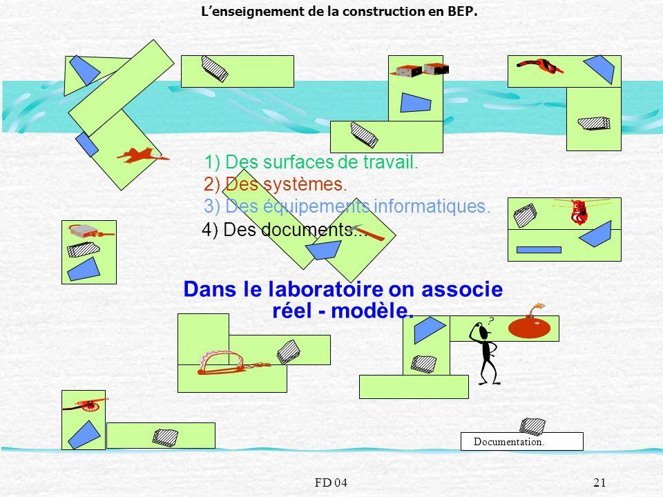 FD 0421 Lenseignement de la construction en BEP. 1) Des surfaces de travail. 3) Des équipements informatiques. Documentation. 4) Des documents... Dans