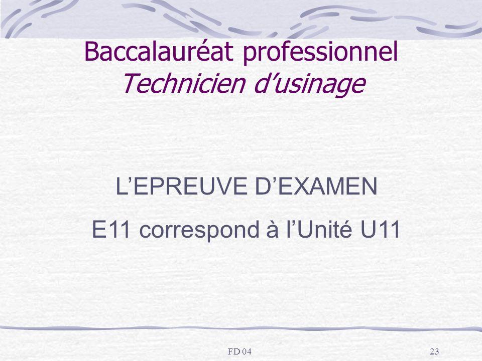 FD 0423 Baccalauréat professionnel Technicien dusinage LEPREUVE DEXAMEN E11 correspond à lUnité U11