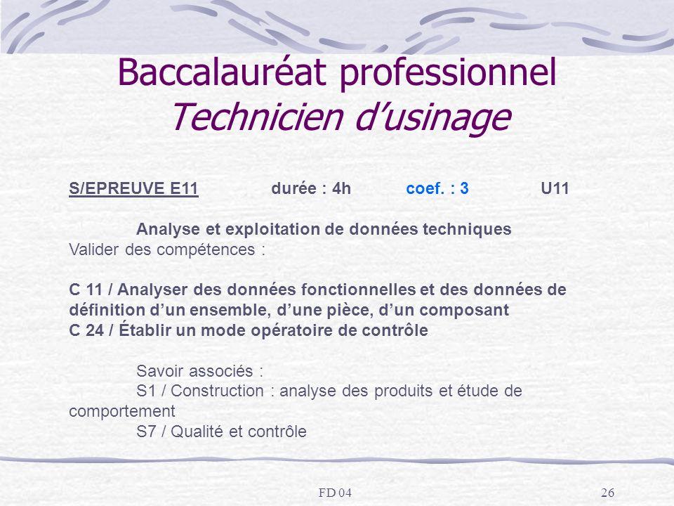 FD 0426 Baccalauréat professionnel Technicien dusinage S/EPREUVE E11 durée : 4hcoef. : 3U11 Analyse et exploitation de données techniques Valider des