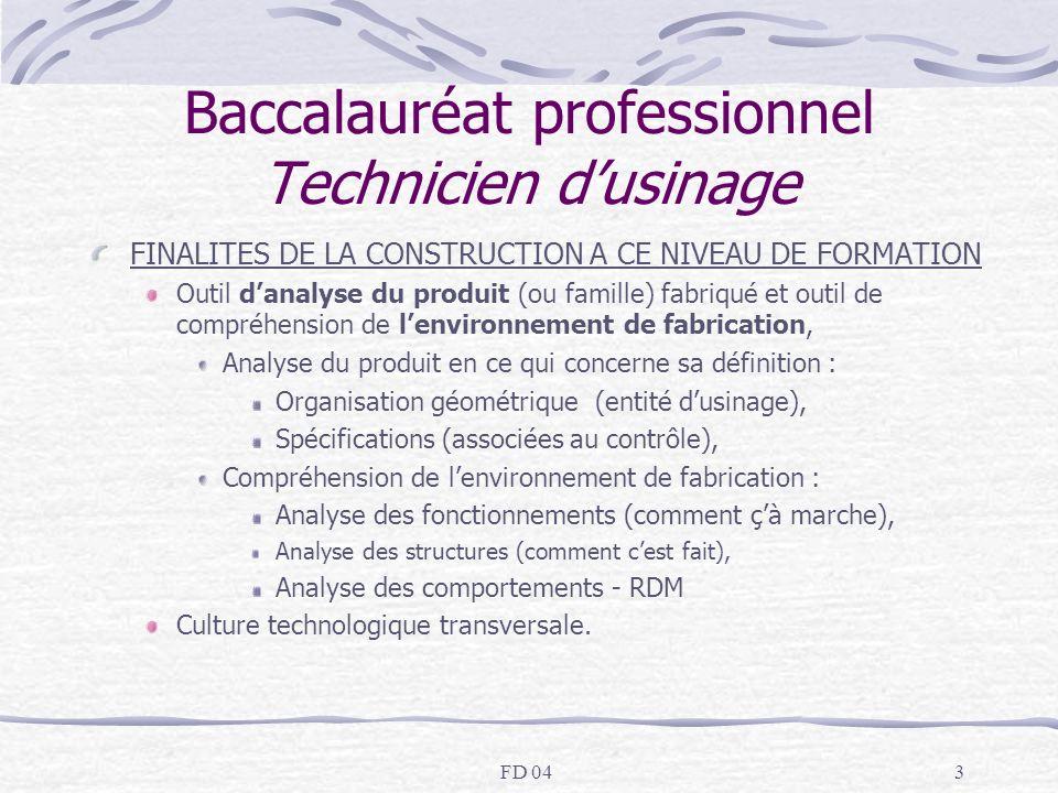 FD 043 Baccalauréat professionnel Technicien dusinage FINALITES DE LA CONSTRUCTION A CE NIVEAU DE FORMATION Outil danalyse du produit (ou famille) fab