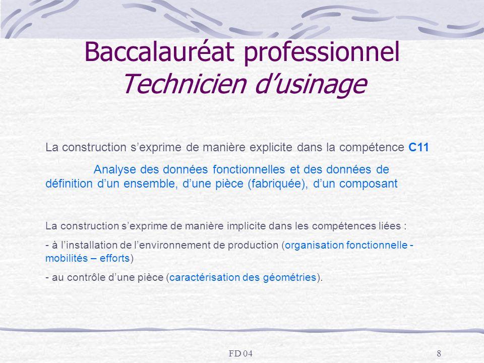 FD 049 Baccalauréat professionnel Technicien dusinage LES SAVOIRS ASSOCIES (niveaux taxonomiques) analyse de données de définition de produit, (niveau 3) analyse fonctionnelle (externe, interne, structurelle (niveau 2)) étude de comportement modélisation (liaisons - niveau 2, actions mécaniques – niveau 3), cinématique (du point en R et T, niveau 3) statique(2 à 3 forces coplanaires, niveau 3) dynamique (principe), RDM (expression des contraintes, donnée)